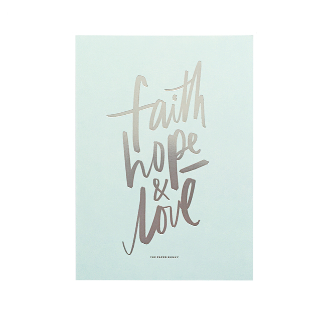 Faith Hope & Love (Silver Foil) Print