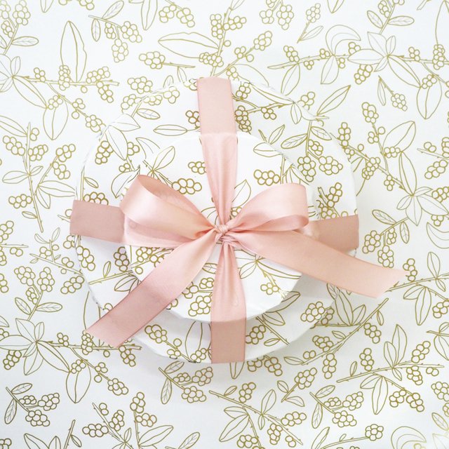 Bayberries White Gold Wrapping Paper