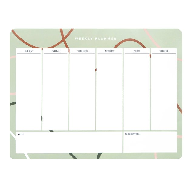 Bailey Seafoam Weekly Desk Planner
