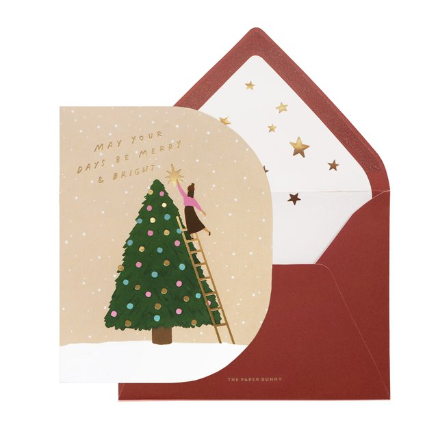 Merry and Bright Christmas Tree Card