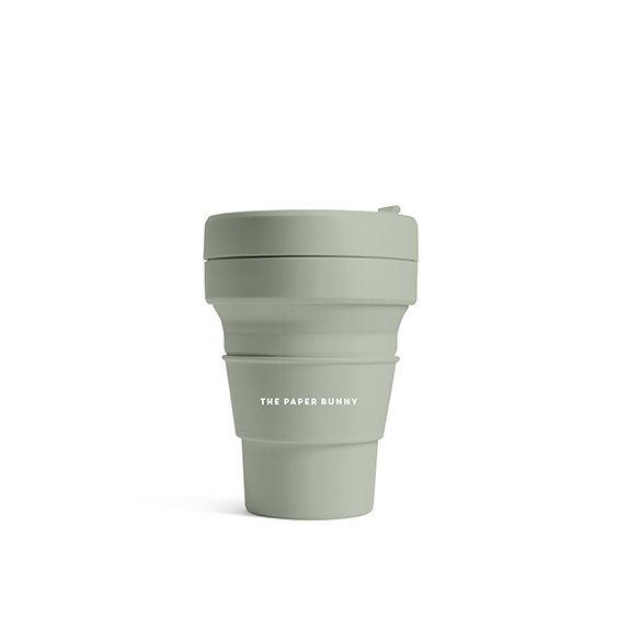 The Paper Bunny x Stojo Collapsible Cup Pocket 12oz/350ml (Sage)