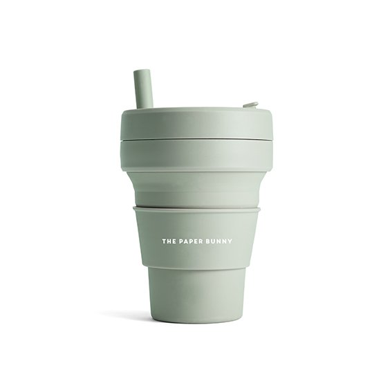 The Paper Bunny x Stojo Collapsible Cup Biggie 16oz/470ml (Sage)