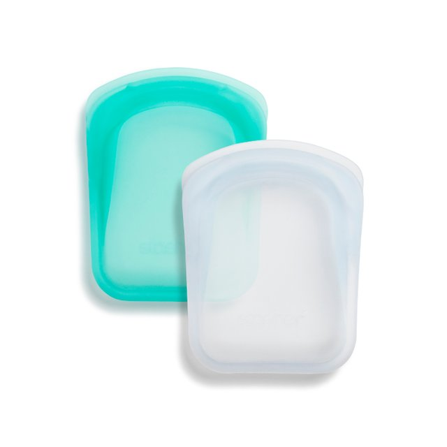 Stasher Reusable Silicone Pocket 2-Pack Bundle (Clear and Aqua)
