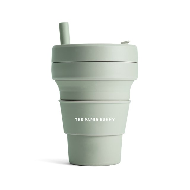 The Paper Bunny x Stojo Collapsible Cup Biggie 16oz/470ml (Sage Green)
