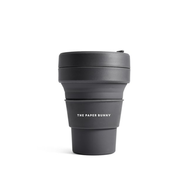 The Paper Bunny x Stojo Collapsible Cup Pocket 12oz/350ml (Carbon)