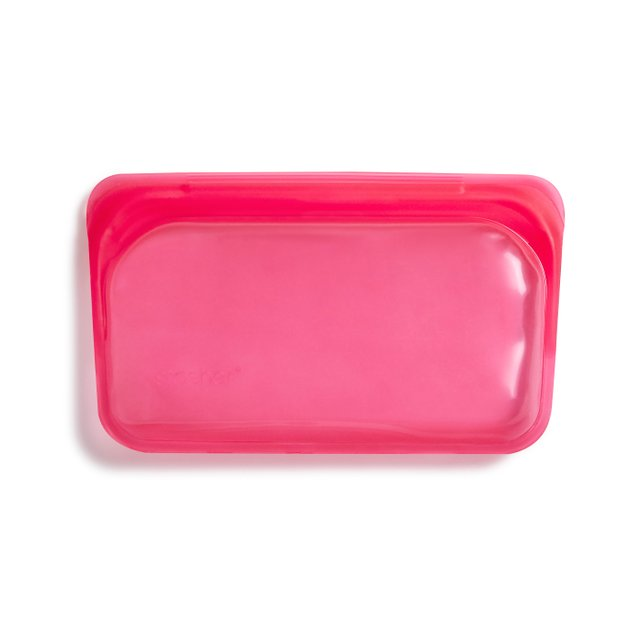Stasher Reusable Silicone Snack Bag (Raspberry)