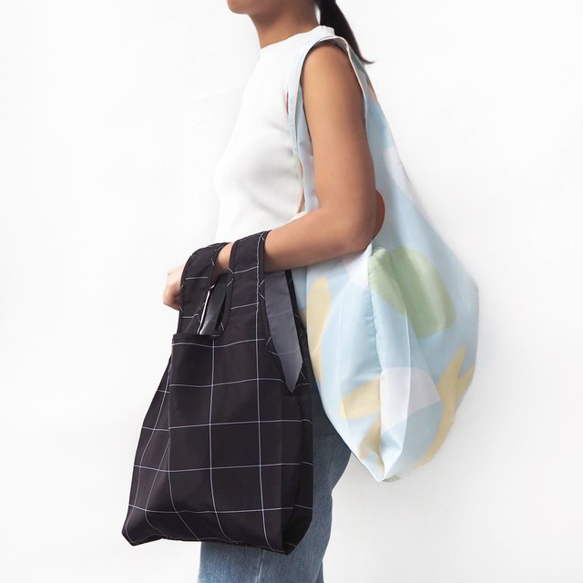 Black Grid Reusable Bag